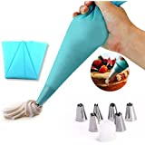 Kurtzy Stainless Steel Icing Nozzles Cake Piping Bag With 1 Coupler For Decorating Cupcake Pastry Desserts Set Of 6 Assorted