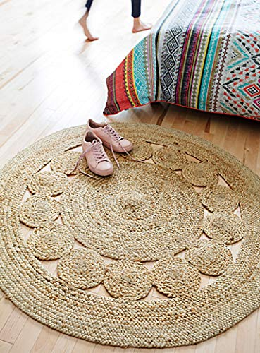 Jai Shri Shyam Jute Round Shape Single Piece Floor Rug/Fancy Door Mats_90X90 cm_Natural