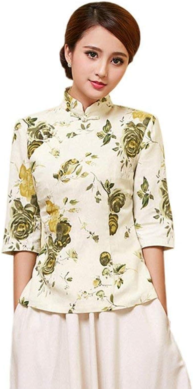 Blusa Mujer Primavera Otoño Elegantes Moda Stand Cuello Manga Larga Shirt Patrón De Flores Especial Estilo Vintage Cheongsam Estilo Chino Camisas Casual Tops: Amazon.es: Ropa y accesorios