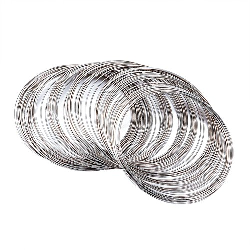 - Pandahall 1Unit Stainless Steel Memory Wire Beading Wire Cuff Bangle Bracelet DIY Jewelry Making Platinum Color 65mm 100circles/unit