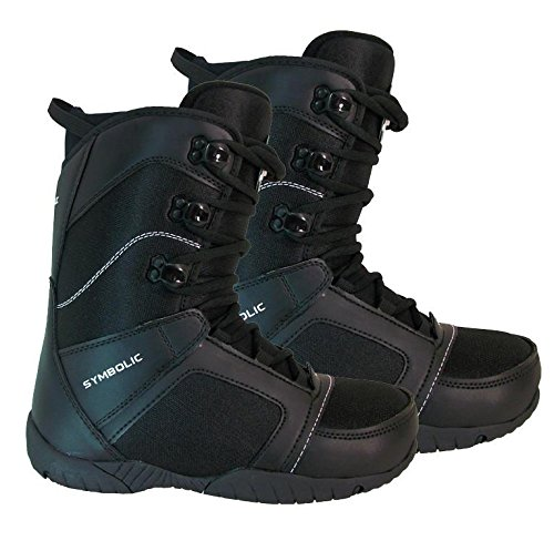 Symbolic Ultra Light Black Snowboard Boots 7 8 9 10 11 12 13 14 (Black, Mens 10)