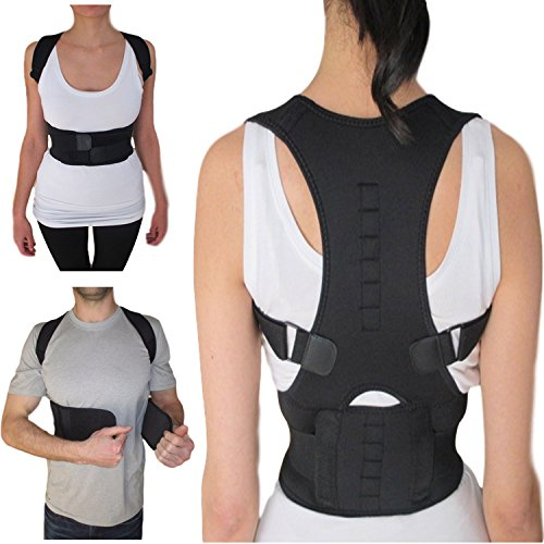 Armstrong Amerika Thoracic Back Brace Magnetic Posture Support Corrector for Back Neck Shoulder Upper Back Pain Relief Perfect Product for Cervical Spine Fully Adjustable with Magnets (Large) (Magnetic Lower Back Support Belt)
