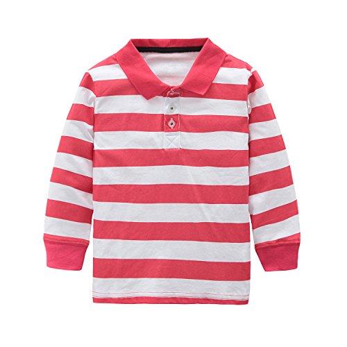 HowJoJo Toddler Boys Cotton Long Sleeve T-Shirts Striped Polo Shirts Red 3T -