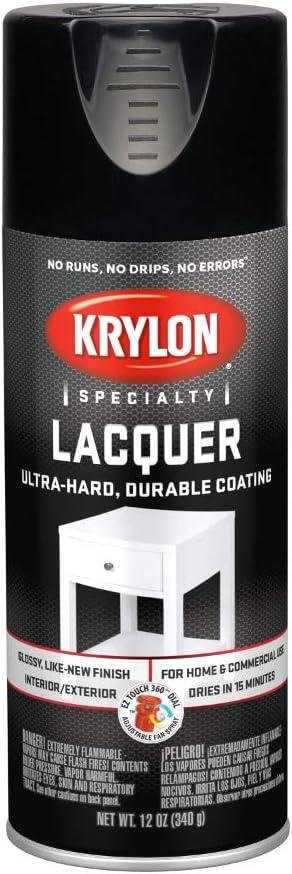 Krylon K07030 Lacquer Spray Paint Gloss Black, 12 Ounce Aerosol
