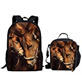 Showudesigns School Backpack + Small Lunch Box Crossbody Food Bag for Kids Couple Horse
