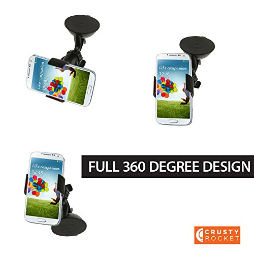 Universal Cell Phone Car Mount Holder with Very Strong Suction by Crusty Rocket, The Right Car Mount for Your - Mint Rockets Condition