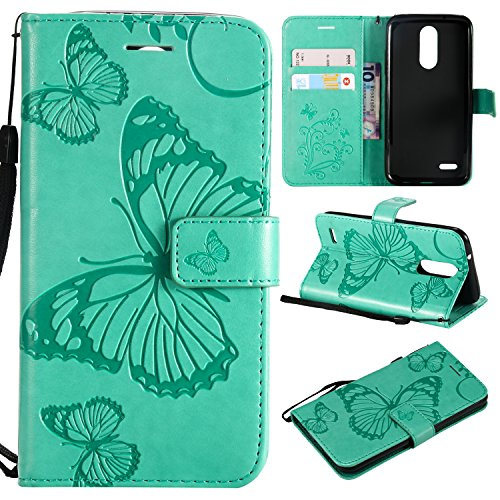 ARSUE LG Zone 4 Case,LG ARISTO 2 X210,LG Tribute Dynasty,LG Fortune 2,LG Risio 3,LG K8 (2018) Case,Wallet Leather Folio Flip PU Card Holder with Kickstand Phone Case Cover,Butterfly Mint Green (Tribute Mint)