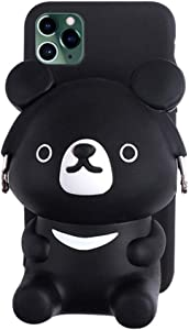 UnnFiko 3D Cartoon Pocket Case Compatible with iPhone 11 Pro Max, Black Cute Bear Purse Stand Holder, Squishy Soft Silicone Protective Phone Case for Girls Women (iPhone 11 Pro Max)