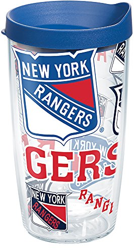 - Tervis 1276100 NHL New York Rangers All Over Tumbler with Wrap and Blue Lid 16oz, Clear