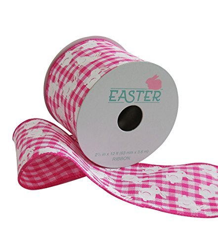 Easter Ribbon 2.5'' x 12' Pink Gingham & Bunny