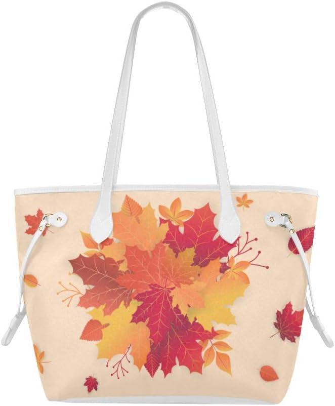 Handbags Autumn Orange Maple Leaves Nature Woman Bags Unique Shoulder Bags Large Capacity Water Resistant with Durable Handle