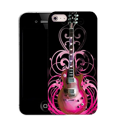 Mobile Case Mate IPhone 4 clip on Silicone Coque couverture case cover Pare-chocs + STYLET - pink guitar pattern (SILICON)