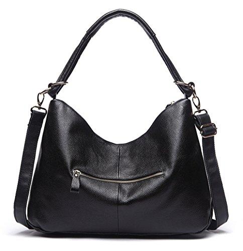 La mujer Xinmaoyuan Bolsos Bolso Big Bag Bolso De cuero auténtico Bolso Messenger,negro Negro