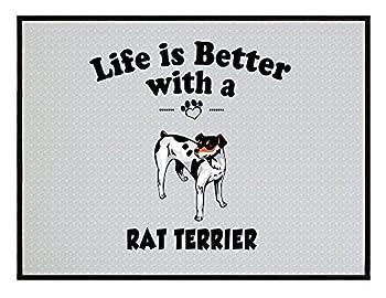 RAT TERRIER DOG Life is Better Kitchen Door Welcome Floor Mat