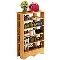 Dland Shoe Racks 5 Tiers Multi-Function Economy Storage Rack Solid Wood Shelf Organizer, Teak