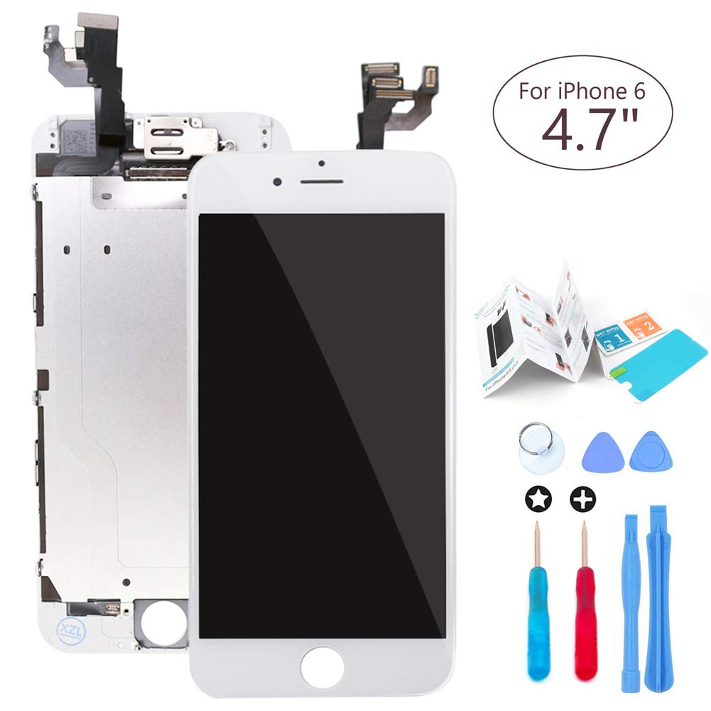 ibaye Screen Replacement LCD Touch Digitizer Compatible iPhone 6 4.7' (A1549,A1586,A1589) White Full Assembly Built-in Components(Facing Proximity Sensor, Ear Piece, Front Camera),Tools