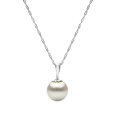 Amazon 14k white gold white freshwater cultured pearl necklace 14k white gold white freshwater cultured pearl necklace pendant chain jewelry women 18 inch mozeypictures Gallery