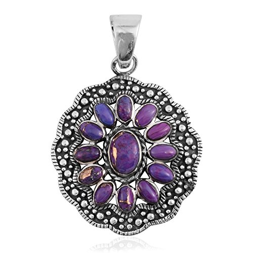 Santa Fe Style Purple Turquoise Sterling Silver Pendant without Chain (Santa Fe Turquoise Necklace)