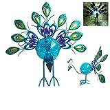 "Comfy Hour 16"" Blue Metal Art Peacock Solar Garden Stake"