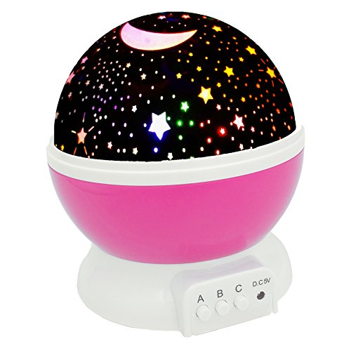 ALVARY Baby Night Light Moon Star Projector 360 Degree Rotation - 4 LED Bulbs 9 Light Color Changing with USB Cable, Unique Gifts for Men Women Kids Best Baby Gifts (Pink) by ALVARY