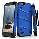 Phonelicious Extreme Case Series For ZTE ZFive G C Z557BL Z558VL [Heavy Duty] Hybrid Dual Layer Kickstand Belt [Holster Clip] Combo Rugged (BLUE)