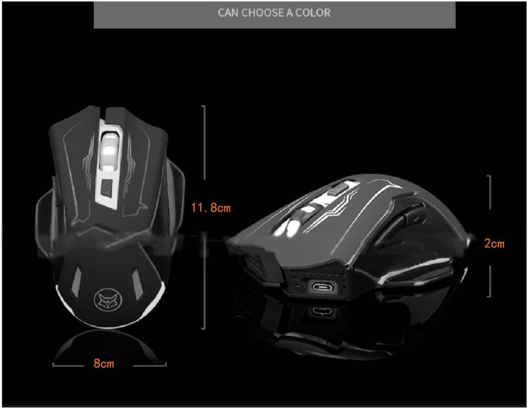 5x3x1inch DULPLAY Wireless mouse,Bluetooth mouse,2.4G portable optical,Led With usb nano receiver 4 adjustable dpi levels For games Pc Laptop Computer-C 11.8x8x2cm