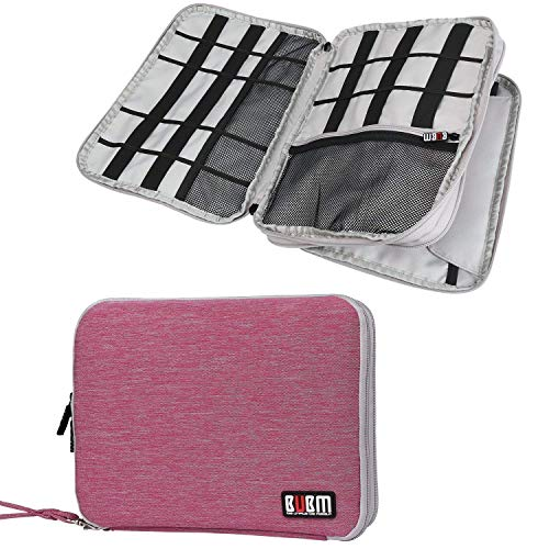BUBM Travel Cable Organizer, Universal Electronic Accessories Bag Gear Storage for Cord, USB Flash Drive, Earphone and More, Perfect Size for iPad (Large, Rose Red and Light Grey)
