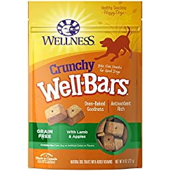 Wellness Crunchy WellBars Natural Grain Free Dog Treats, Lamb & Apples, 8-Ounce Bag