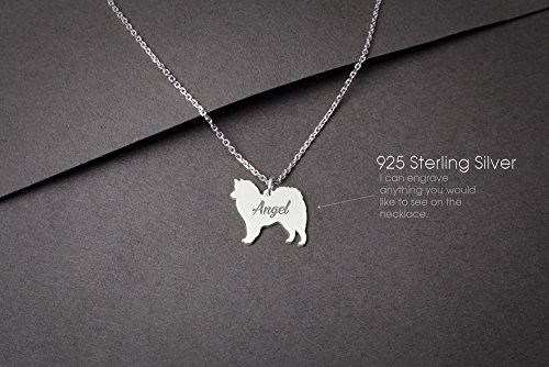 onalised Tiny Silver Necklace - American Eskimo Necklace - 925 Sterling Silver, Gold Plated or Rose Plated ()