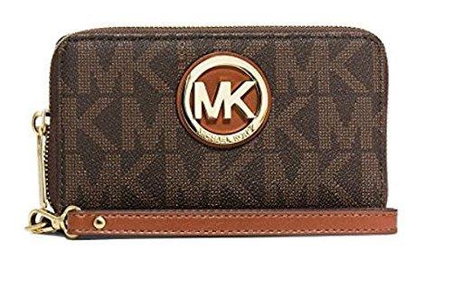 MICHAEL Michael Kors Women's Fulton Large Smartphone Wristlet, Signature Logo Brown