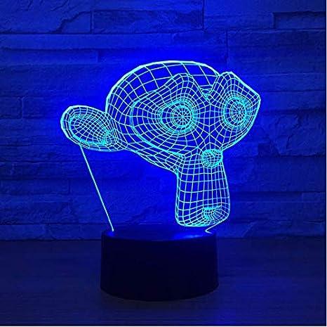 XINGXIAOYU Máscara del Mono llevó la luz de la Noche 3D USB táctil ...