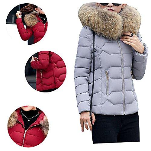 Short Warm with Grey BOZEVON Faux Women's Fur Zip Winter Coat Jacket Hood q66ExCwF