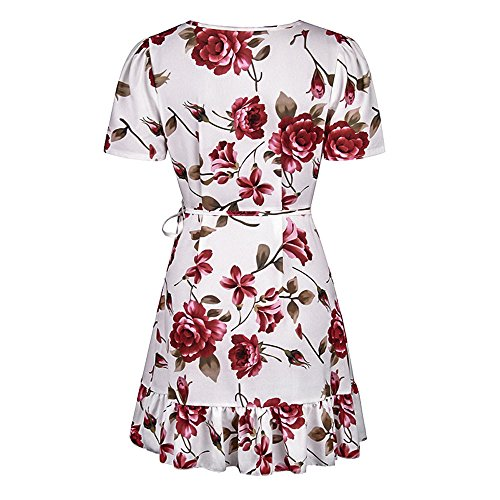 Beach MORCHAN Floral Off Dames Blanc paule Dresses Summer 3 Robe Mini Courte Femmes Party wTwzArqn4