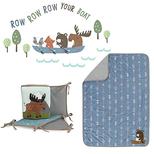Lambs & Ivy Tippy Canoe Blue/Gray 3-Piece Crib Bedding Set with Bumper ()