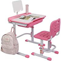 ZUSERIS Kids Desk and Chair Set,Kids Interactive Workstation,Height Adjustable Children Study Desk with Tilt Desktop and Reading Stand(Grey,Pink)