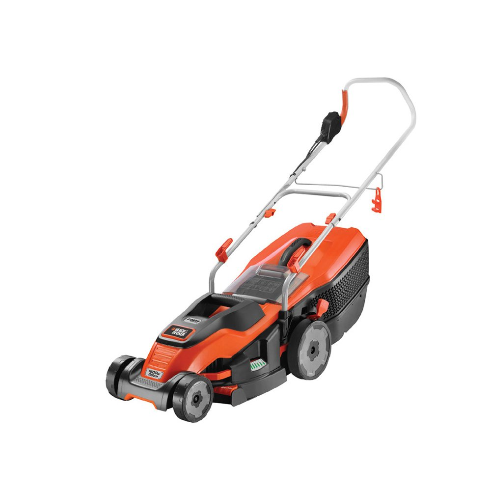BLACK+DECKER Edge-Max Lawn Mower with 38 cm Cut Intelli Cable Management and 45 L Compact Go Box, 1600 W Black & Decker EMAX38i-GB
