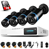 H.View 4CH 1080P HD Video Security Camera System with 1TB Hard Drive,4 Channel DVR Video Recorder, (4)1080P Indoor/Outdoor Surveillance Cameras,Smart Recording and Palyback Night Vision up to 30M