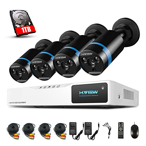 H.View 8 channel 1080p Security Camera System with 8CH CCTV DVR Recorder and 4x1080P Weatherproof Security Cameras Night Vison up to 30M(1TB Hard Drive Installed)