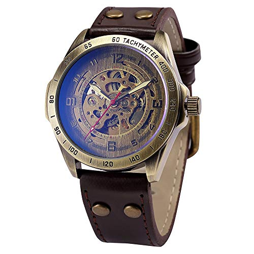 Full time 24 Mechanical Vintage Bronze Case Automatic Mechanical Skeleton Brown Leather Band Men's Sport Watch (SH2)