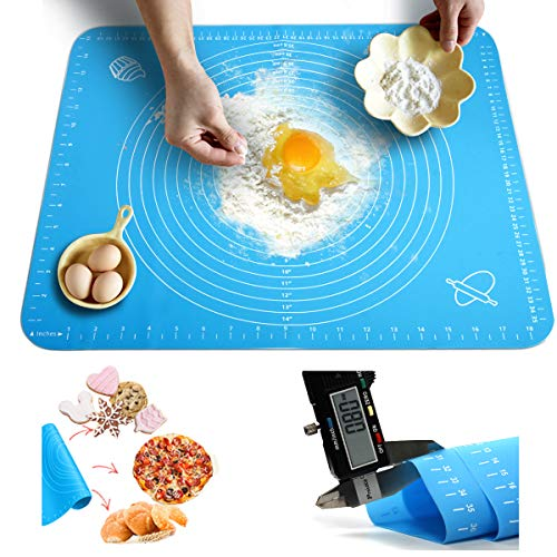 [Thickness Upgrade] Silicone Baking Mat with Measurements, Amytalk Thicken, Heat Resistance, Reusable Non-Stick Pastry Mat Non Slip Rolling Mat Dough Board Dough Kneading Mat, Blue, Easy Clean