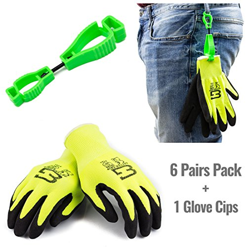 Better Grip GCNTR-8 Seamless Knit Nylon Nitrile Form Coated Work Gloves, High visibility Lime, 6 Pairs (Medium w/ a Glove Clip)