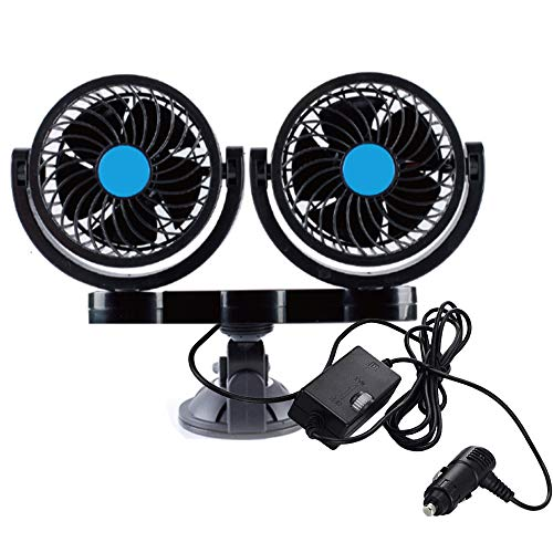 Electric Car Fan Dual Head Strong Wind Suction Cup Powerful Auto Fan Windshield Dashboard Cooling Air Circulator Low Noise 2 Speed Adjustable Summer Cooling Air Fan for 12V Vehicle Boat Golf Cart