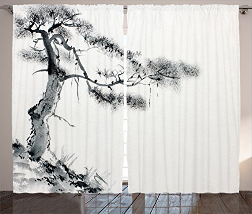 Ambesonne Asian Decor Collection, Lone Pine on Mountain Slope Art in Traditional Chinese Painting Style Oriental Culture , Living Room Bedroom Curtain 2 Panels Set, 108 X 84 Inches, Grey White (Oriental Asian Fabric)