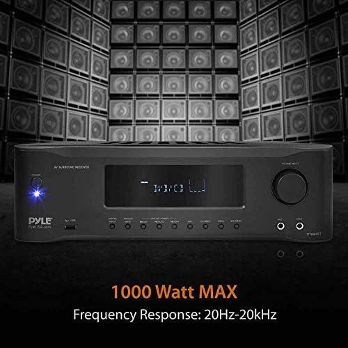 5.2-Channel Hi-Fi Bluetooth Stereo Amplifier – 1000 Watt AV Home Speaker Subwoofer Sound Receiver W/ Radio, USB, RCA, HDMI, Mic In, Wireless Streaming, Supports 4K UHD TV, 3D, Blu-Ray – Pyle PT694BT 51cFNI5PznL