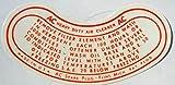 CHEVROLET 1949 1950 1951 1952 1953 1954 AC OIL BATH AIR CLEANER DECAL - STICKER - CHEVY