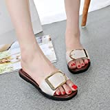 ZOMUSAR Clearance! Sandals Slippers, Fashion Women Summer Casual Flat Heel Square Buckle Sandals Slipper Shoes (US:9, White)