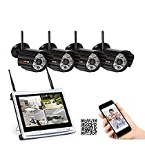 ANRAN Wireless Security System,HD 1080P 4 Channel NVR Kits with 12 Inch LCD Monitor, 4 Outdoor Indoor Bullet Surveillance 1080P IP Camera, Super Night Vision, P2P, Mobile Remote Viewing NO HDD