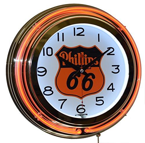 Phillips 66 Gasoline Orange Double Neon Advertising Clock Man Cave Garage Decor