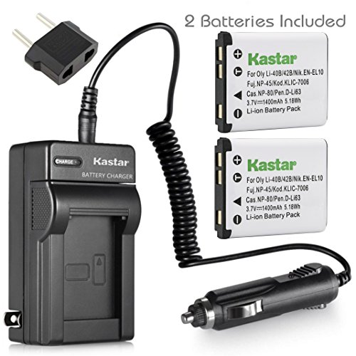(Kastar Battery (2-Pack) and Charger Kit for Pentax Optio D-LI108, D-LI63 work with Pentax Optio L36, L40, LS465, LS1000, M30, M40, M90, M900, RS1000, RS1500, T30, V10, W30 Digital Cameras)