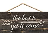 #10: The Best is Yet to Be Arrow Rustic 5 x 10 Wood Plank Design Hanging Sign